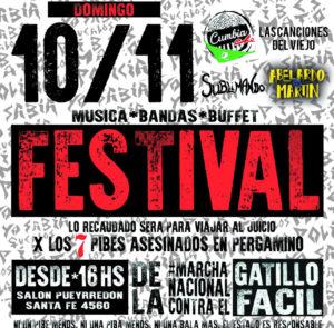 Festival solidario para viajar a Pergamino cuando se lea la sentencia por la Masacre de los 7 pibes y contribuir a  la reconstrucción de la APDH-La Matanza