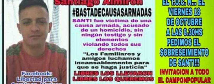 ¡Libertad a Santiago Almirón,  basta de causas armadas!