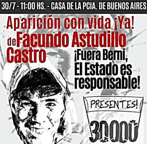 El jueves 30 de julio se cumplen 3 meses de la desaparición de Facundo Astudillo Castro