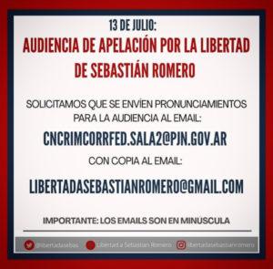 13 de julio – 10 horas:  #Audiencia de apelación por la libertad de Sebastián Romero