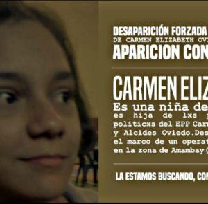 Sobre la desaparición forzada de la niña Carmen Elizabeth Oviedo Villalba, de 14 años, en el Paraguay