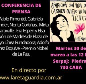 30-3- 12 HS. CONFERENCIA DE PRENSA EN EL SERPAJ- PIEDRAS 730 CABA- EN DIRECTO POR: www.laretaguardia.com.ar