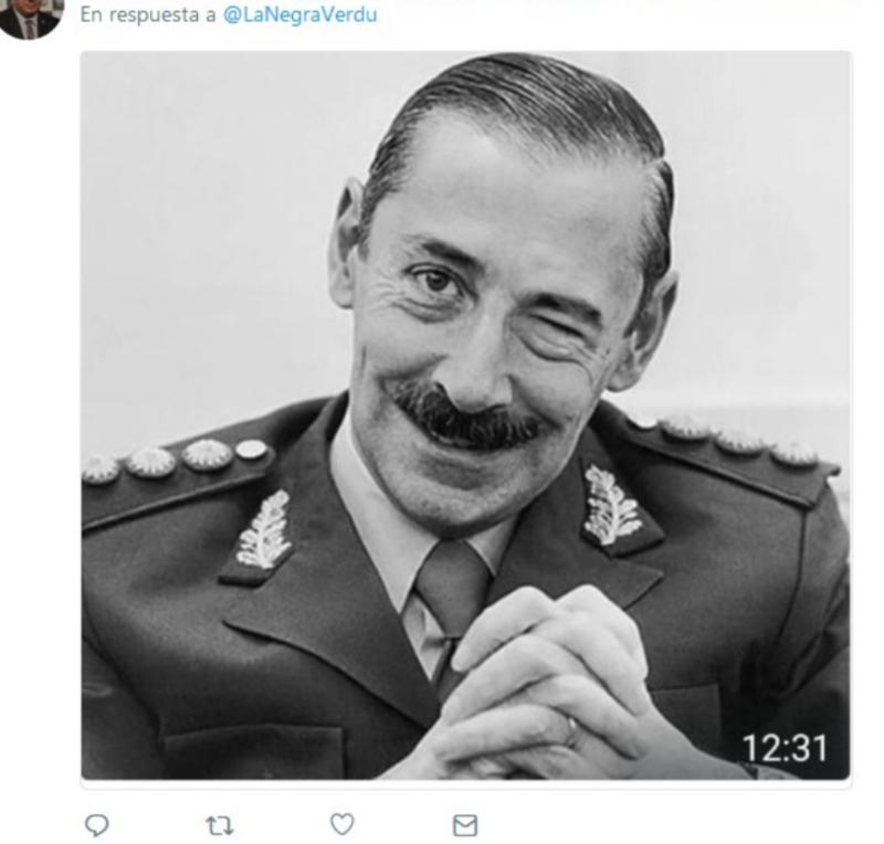 Imagen del dictador Videla envíado a Carmen Verdú