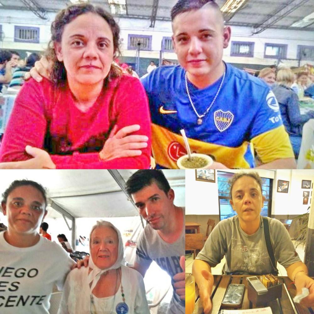 Fabiola con su hijo en el penal de Mercedes. Abajo, con Nora Cortiñas, Madres Línea Fundadora y Claudio Castro de la Coordinadora contra la Impunidad Policial