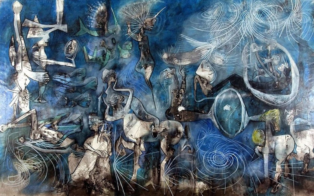 Pintura: Espejo de cromos, de Roberto Matta