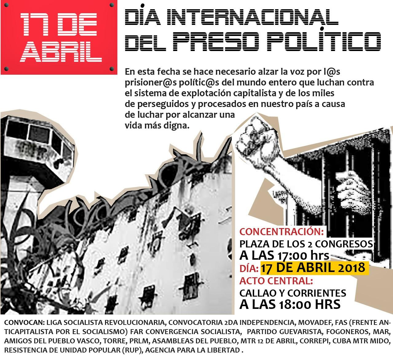 Movilización por el Día Internacional del Prisionero Político en el Mundo 17/4- 17 horas- Congreso -
