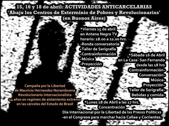 15,16 y 18 de abril: Actividades Anticarcelarias