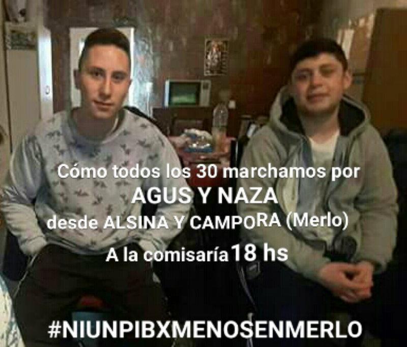 30/1 - 18 Hs -Marcha por Nazareno y Agustín en Merlo
