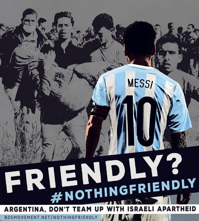 La selección argentina de fútbol masculino respaldará el genocidio palestino que perpetra el Estado de Israel