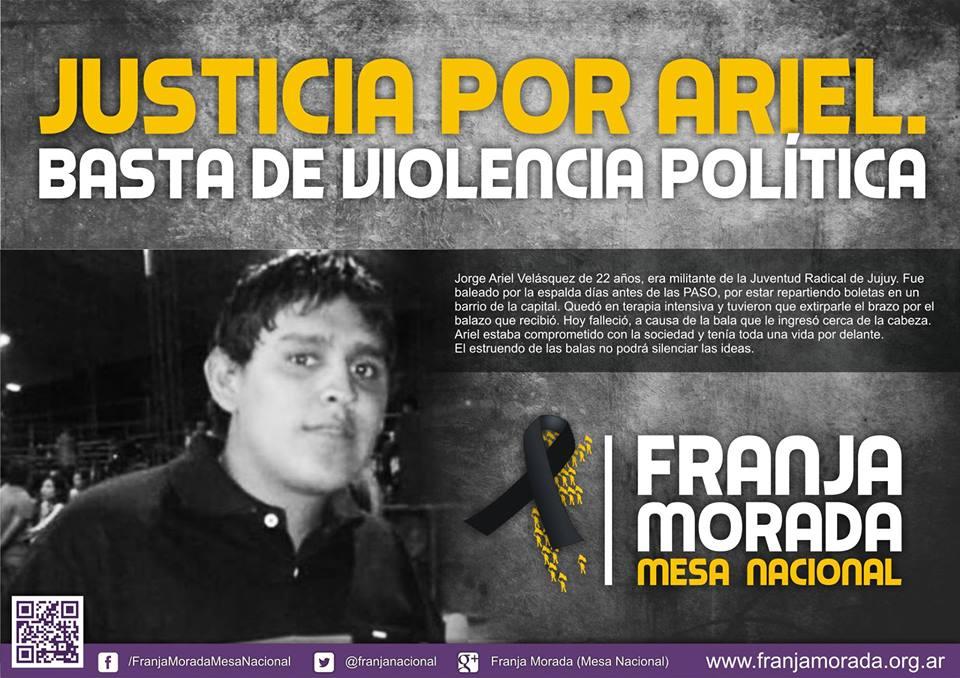 Murió ayer Ariel Velázquez, militante Radical baleado en Jujuy