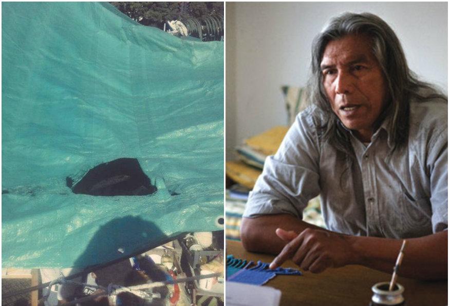 Plástico quemado por el artefacto casero lanzado en 9 de Julio y Belgrano/ Félix Díaz