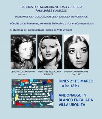 Baldosas por la Memoria de Cecilia, Irene y Susana en Villa Urquiza