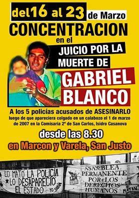 Mañana es la tercer jornada del Juicio por el asesinato de Gabriel Blanco