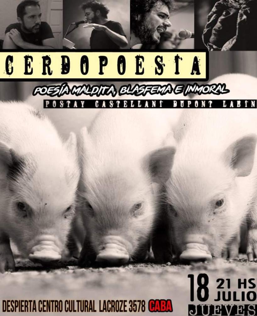 18/7- 21 hs: Poesía inmoral en Chacarita