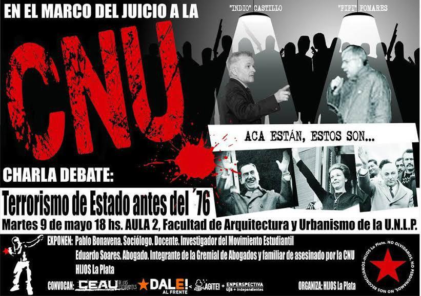 Charla/Debate en La Plata sobre el Terrorismo de Estado antes del inicio de la dictadura del '76