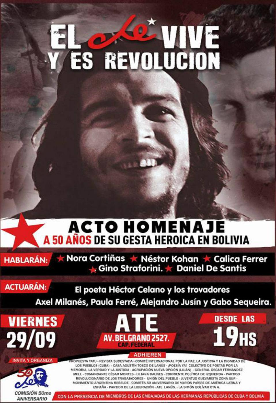 A 50 años de su gesta heroica en Bolivia-Acto-homenaje al Che en ATE- Belgrano 2527- Caba- 29/ 9 - A las 19 horas