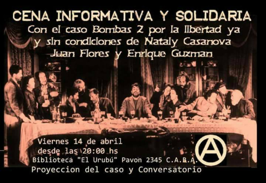 Cena Informativa para la libertad de lxs presxs anarquistas en Chile