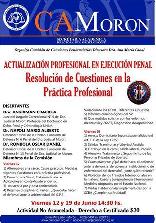 Actualización Profesional en Ejecución Penal: Resolución de Cuestiones en la Práctica Profesional
