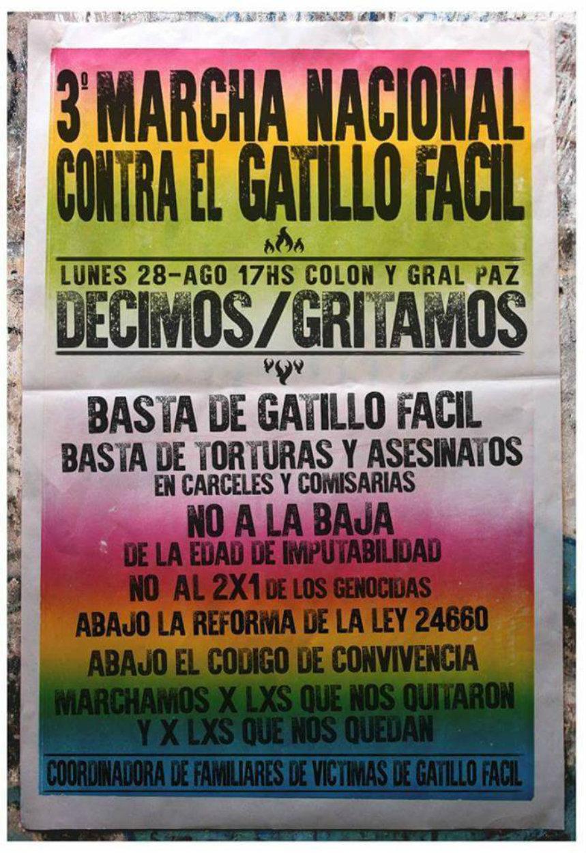 Córdoba Marcha contra el Gatillo Fácil - 28/8 - 17 horas- Cólon y General Paz