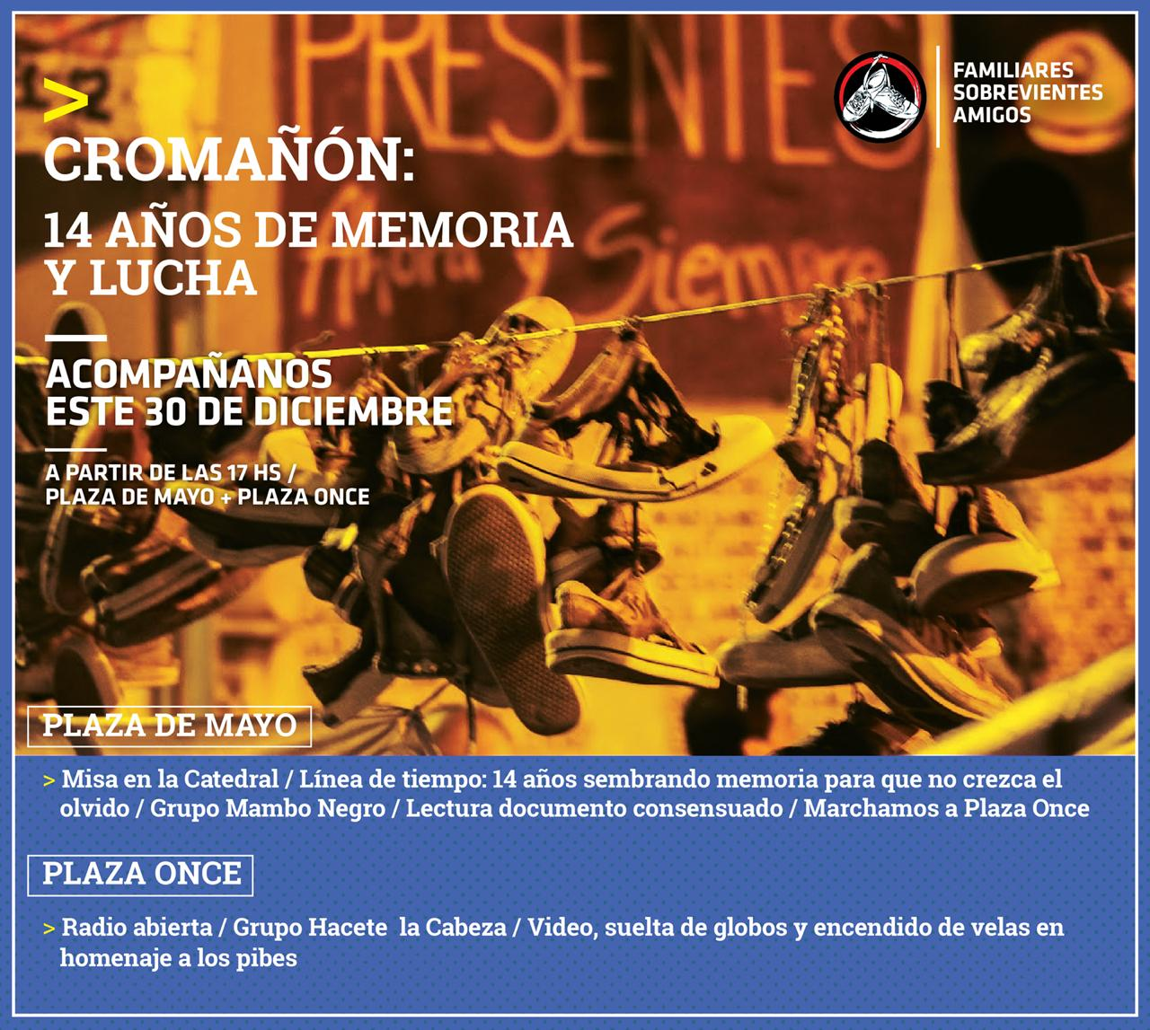 Convocatoria por lxs Pibes de Cromañón- 30 de diciembre 17.30 hs - Plaza de Mayo