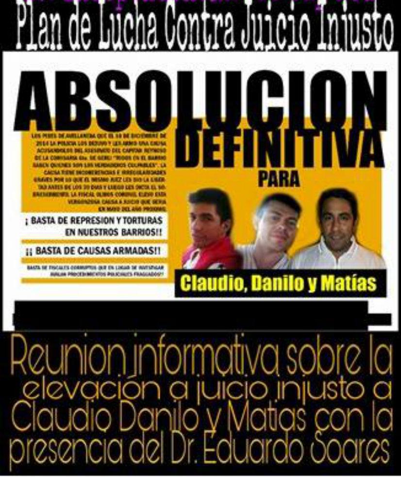 Viernes 11/11 reunión informativa en la CTA sobre juicio injusto con la presencia del abogado Eduardo Soares
