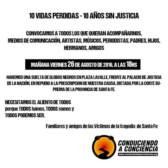Tragedia de  Ecos: Suelta de globos negros en repudio a la impunidad – 26/8 – a las 18 horas en Plaza Lavalle