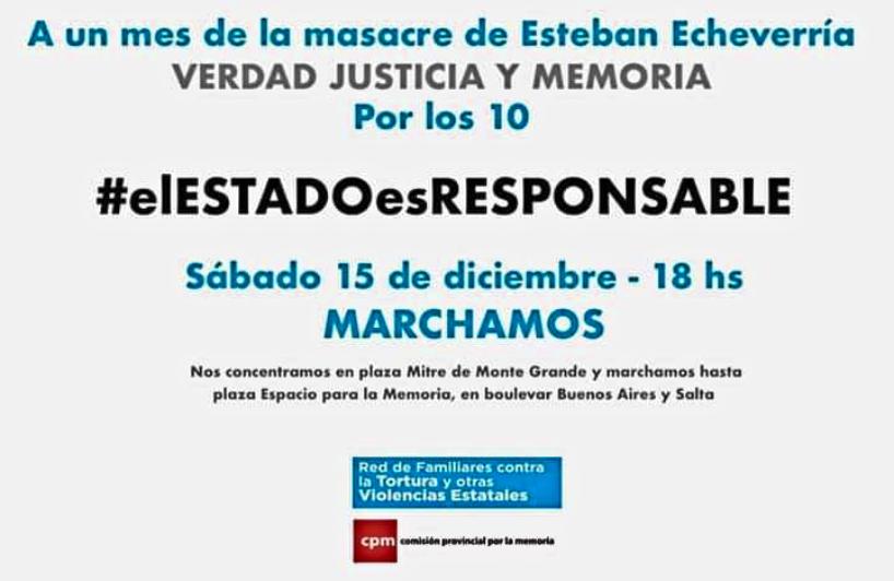 ¡Justicia para los 10 masacrados en la comisaría 3° de Esteban Echeverría!