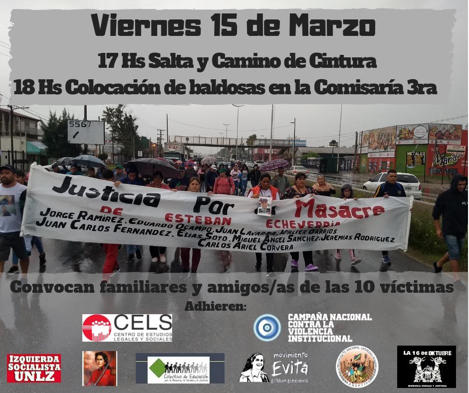 A 4 meses de la Masacre de Esteban Echeverría: Marcha y baldosas en homenaje a los 10