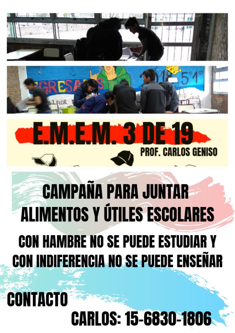 Solidaridad con lxs pibxs de la Escuela 3 del Bajo Flores