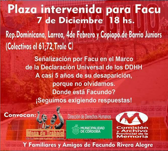 Córdoba: Actividad por Facundo Rivera Alegre, desaparecido hace casi 5 años