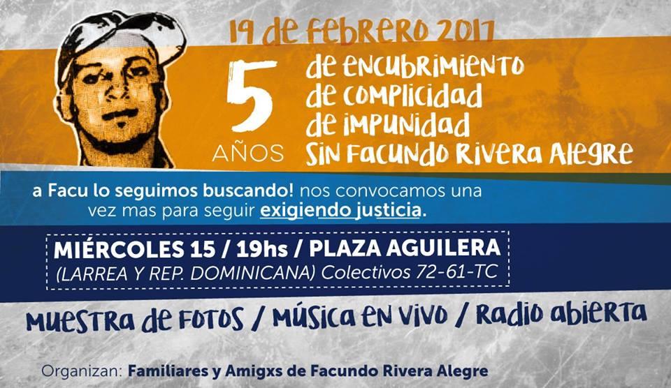 Córdoba: Jornada a cinco años de la desaparición de Facundo Rivera Alegre