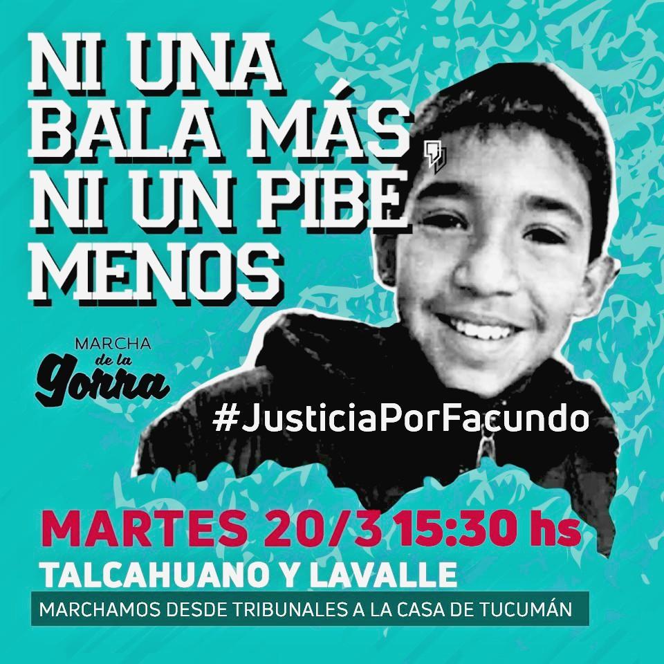 Por Facundo: Mañana marchamos TODXS desde Tribunales hasta la Casa de Tucumán en Buenos Aires
