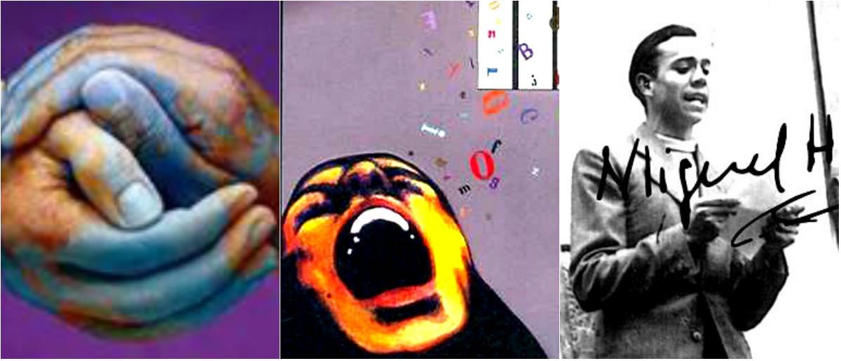 El mundo pintado sobre manos entrelazadas, imagen del libro Intensidades de mujer, realizado por chicas de la cárcel de Ezeiza, y la foto de Miguel Hernández, poeta y revolucionario y antifascista español,  quien murió en prisión a los 32 años.