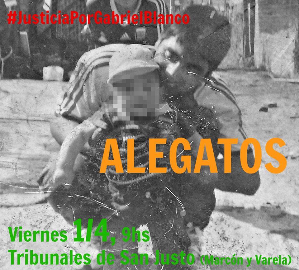 Alegatos en el juicio por el asesinato de Gabriel Blanco
