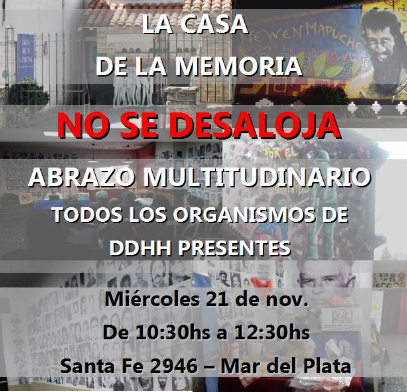 Comunicado de H.I.J.O.S. Mar del Plata frente al intento de desalojo de la Casa de la Memoria