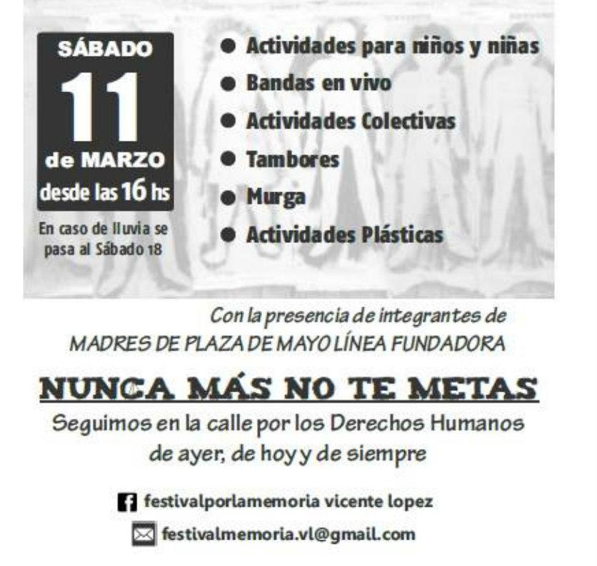 XVI Festival por la Memoria y el Nunca Más No Te Metas, en Florida, Vicente López