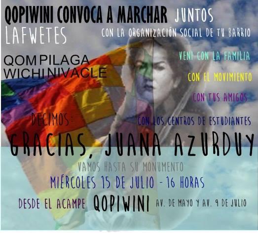 Marcha desde al Acampe Qopiwini hasta el monumento a Juana Azurduy