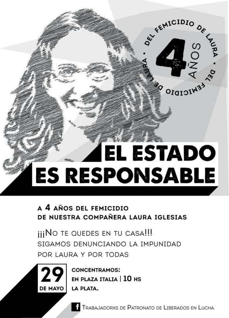 Concentración en La Plata por Laura Iglesias,- 29/5 -Plaza Italia, 10 Horas -