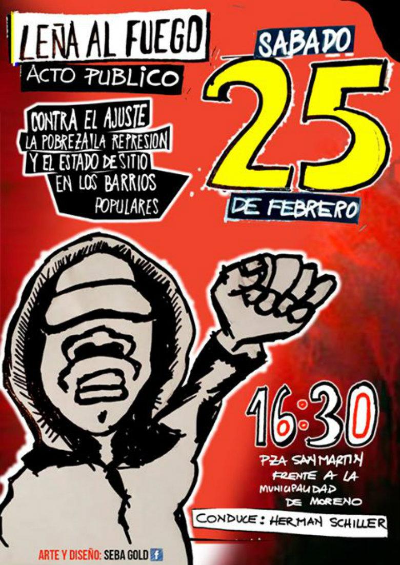 """""""Leña al fuego"""" realiza un acto el  sábado 25/2  en Moreno / Plaza Mariano Moreno frente a la Municipalidad"""
