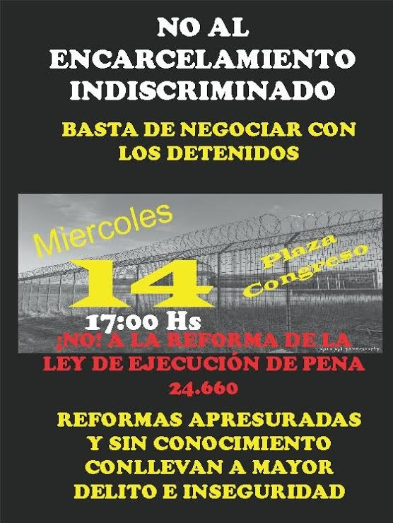 """Contra la """"ley sepultura"""" para los privados de libertad: Todos a Congreso el miércoles 14 a las 17 horas"""