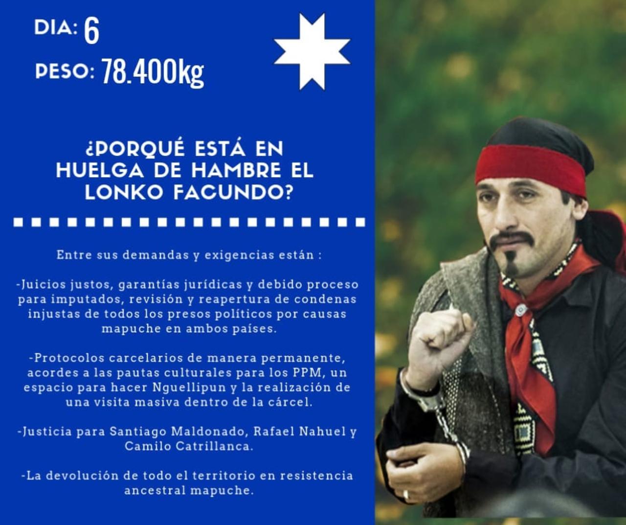 Sexto día de huelga de hambre de Facundo Jones Huala en la Cárcel de  Temuco