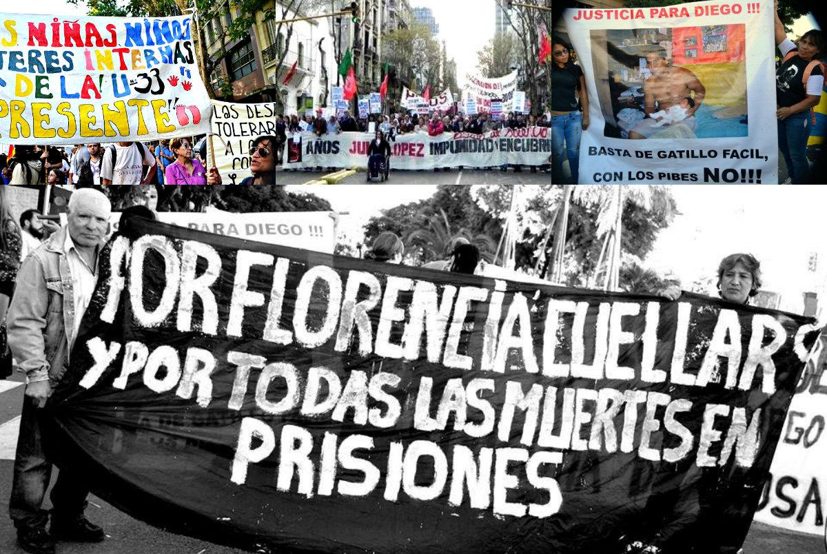 Famialiares de los caídos por la represión estatal marchan con sus banderas