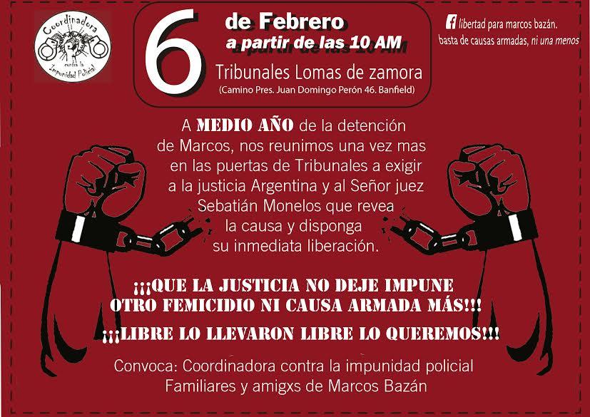 Por la libertad de Marcos Bazán - Tribunales de Lomas de Zamora- Martes 6/2- 10 horas -  Larroque y Camino Negro - Banfield