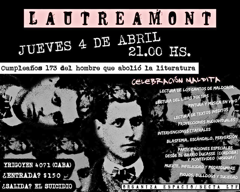 Celebración maldita, con motivo del cumpleaños 173 del Conde de Lautreamont