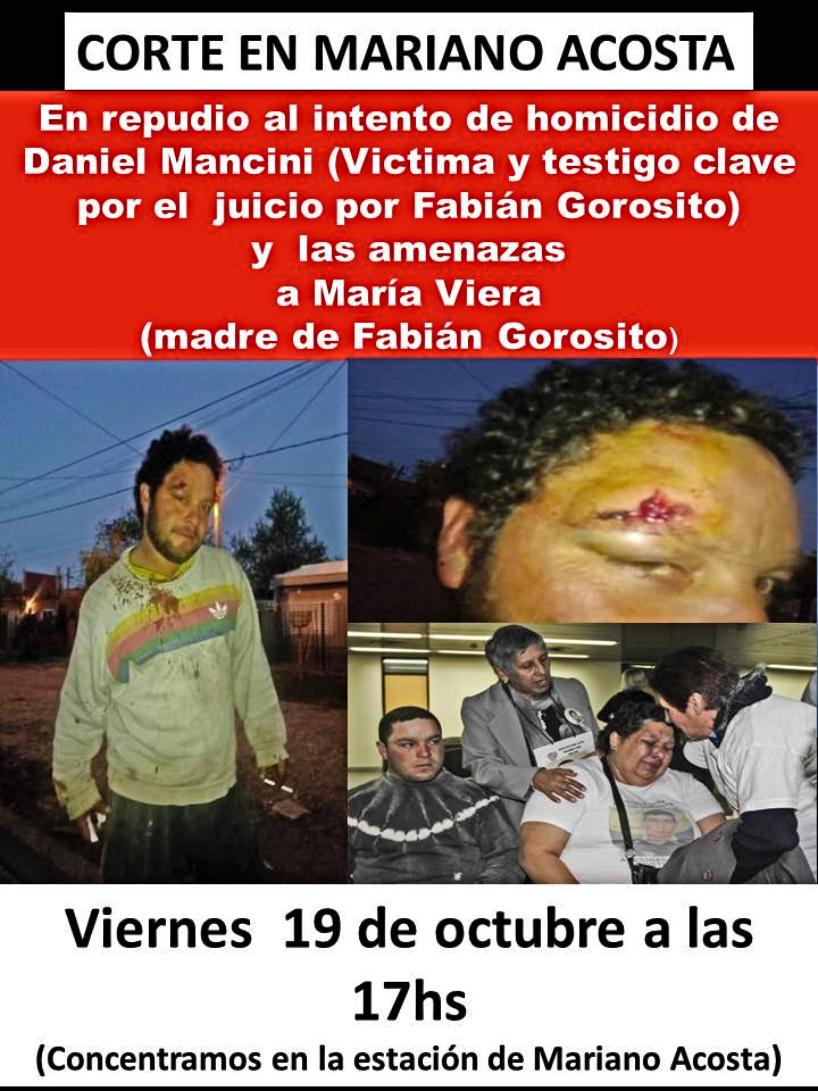 Repudio al Estado terrorista ante la Comisaría 6° de Mariano Acosta, Merlo