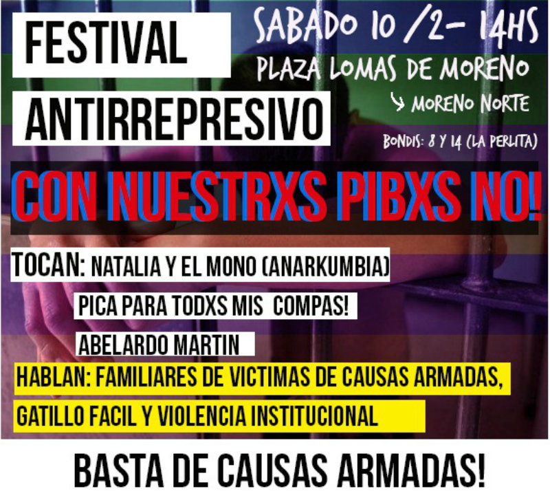 10/2- 14 hs- Jornada cultural contra las causas armadas en Moreno