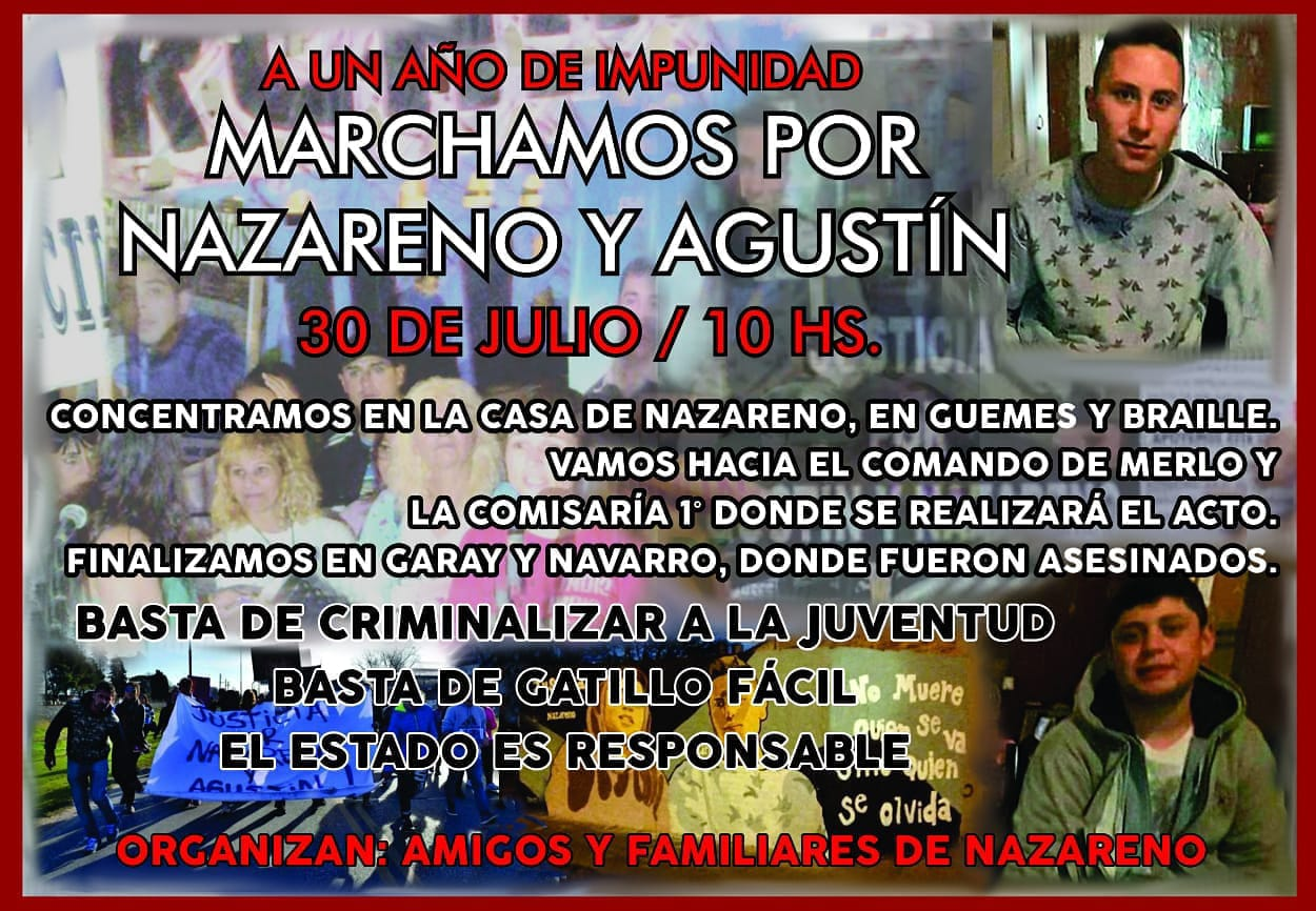 Marchamos a un año del crimen de Nazareno y Agustín - Güemes y Braille- 10 horas - Merlo