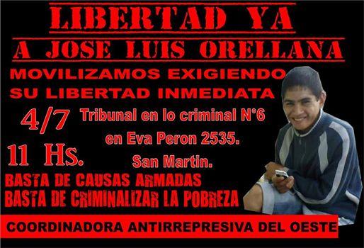 Convocamos a todxs a exigir la libertad de José Luis Orellana