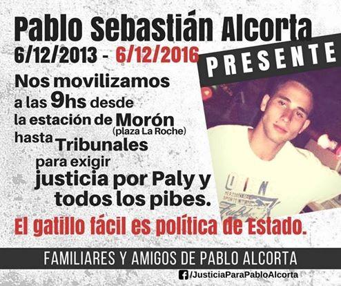 Justicia por el asesinato de Pablo Sebastián Alcorta - Nos movilizamos el 6/12 a las 9hs de la Estación de Morón a Tribunales