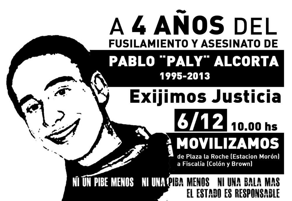 Justicia por Paly Alcorta- Jornada de lucha en Morón – Miércoles 6 – 10  horas -